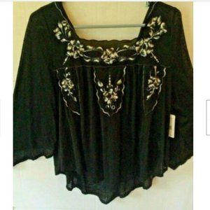 Free People Bed of Roses Black Combo Embroidered~S